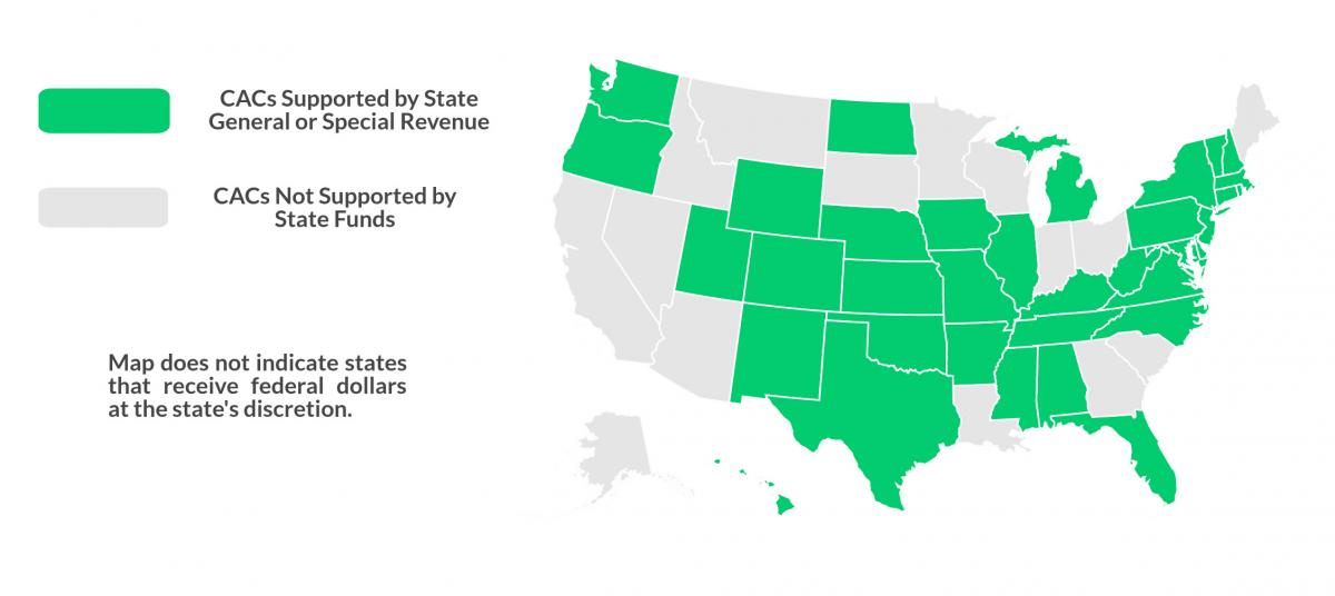 Map of CACs supported by State General or Special Revenue vs. unsupported states