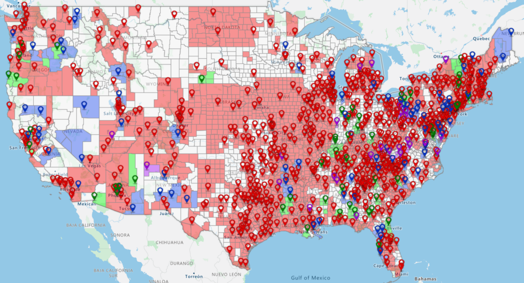 Map of 2020 NCA Member CAC Coverage of Counties